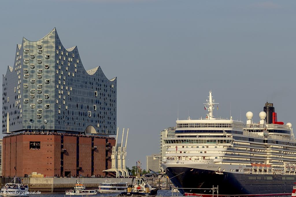Kreuzfahrtschiff an der Elbphilharmonie
